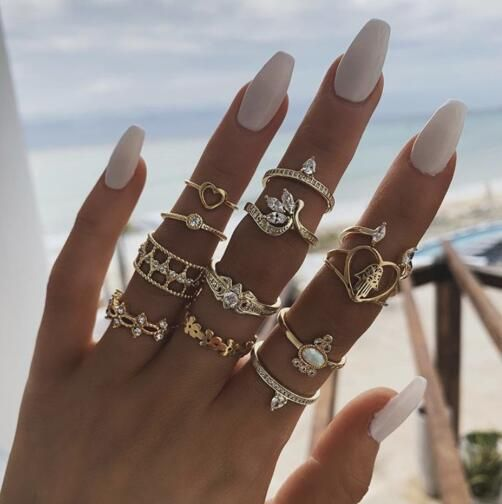 New fashion bohemian joint ring with diamond heart-shaped leaves palm love ring 12 piece set NHGY210695