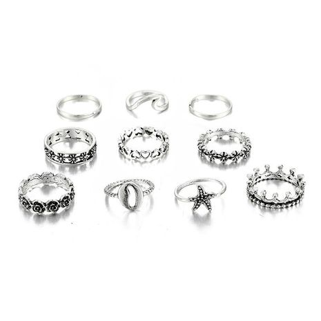 New simple 10 piece set starfish shell love moon ring wholesale NHGY210696's discount tags