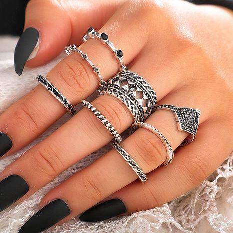 Nouvelle mode rétro noir diamant bague 8 pièce diamant creux ensemble bague NHGY210697's discount tags