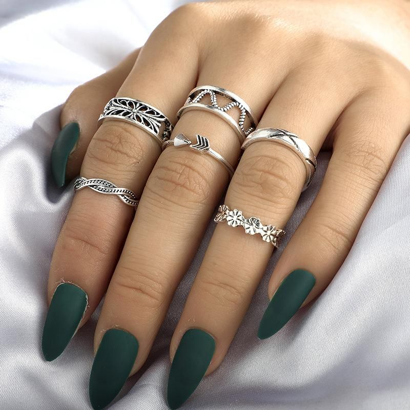 New Fashion Hollow Flower Triangle Geometric Silver Ring 6 Piece Wholesale NHGY210699