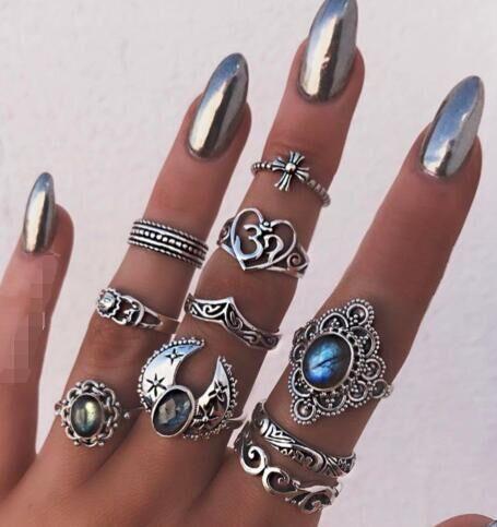 New fashion retro moon sun drop zircon heart-shaped ring ten piece set NHGY210700