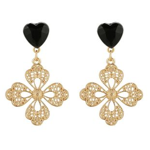 New fashion simple zircon love flower earrings for women wholesale NHGY210703's discount tags