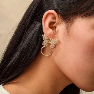 New fashion wild alloy butterfly earrings for women wholesale NHGY210704's discount tags