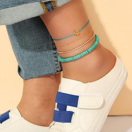 Nouvelle mode simple strass incrusté étoile à cinq branches vert turquoise bracelet de cheville 4 pièces pour femmes en gros NHGY210707's discount tags