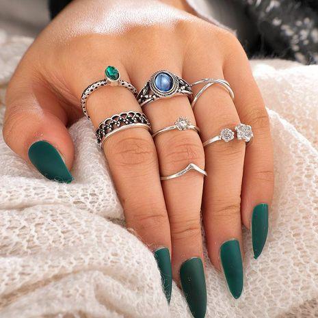 Mode rétro bohème incrusté de pierres précieuses alliage croix fleur anneau ouvert 7 pièces ensemble ornements NHGY210708's discount tags