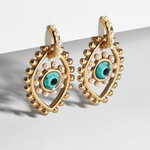 New Fashion Gold Plated Devil's Eye Pearl Earring Wholesale NHOT210711's discount tags