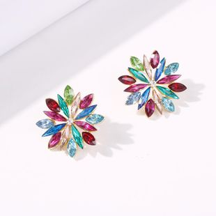 Korean new fashion alloy inlaid color diamond flower earrings for women wholesale NHMD210714's discount tags