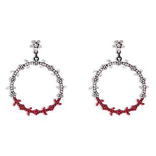 Korean new fashion big circle diamond color leaves bohemian earrings for women wholesale NHMD210715's discount tags