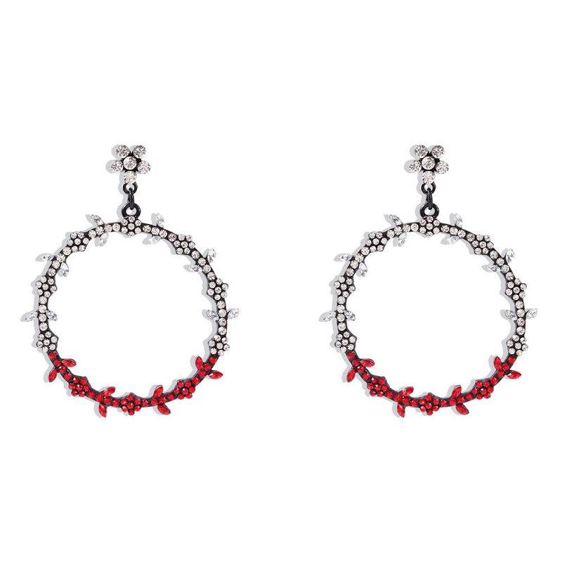 Korean new fashion big circle diamond color leaves bohemian earrings for women wholesale NHMD210715