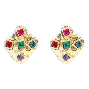 Korean new alloy earrings stylish texture metal diamond irregular diamond earrings NHMD210719's discount tags