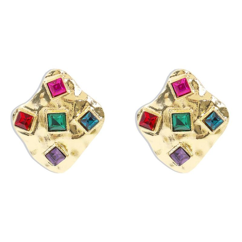 Korean new alloy earrings stylish texture metal diamond irregular diamond earrings NHMD210719