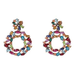 New fashion geometric round alloy diamond earrings for women wholesale NHMD210722's discount tags