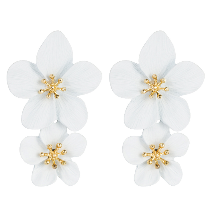 Fashion double flower earrings NHLN143521