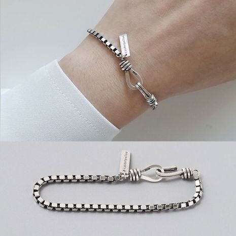 New fashion letter brand imitation Thai silver bracelet Korean fashion retro imitation s925 silver double hook bracelet yiwu nihaojewelry wholesale NHSC210817's discount tags