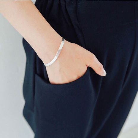 New fashion blade bracelet simple imitation s925 silver flat snake blade bracelet yiwu nihaojewelry wholesale NHSC210815's discount tags