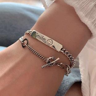 Nueva imitación de la moda pulsera de plata tailandesa smiley simple escudo smiley pulsera retro yiwu nihaojewelry al por mayor NHSC210807's discount tags