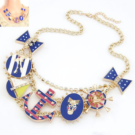 Exaggerated metal anchor bow skull crocodile wild short necklace yiwu nihaojewelry wholesale NHSC211316's discount tags