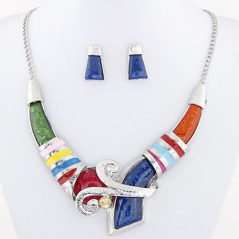 Metal inlaid accessories simple necklace earrings set yiwu nihaojewelry wholesale NHSC211312's discount tags