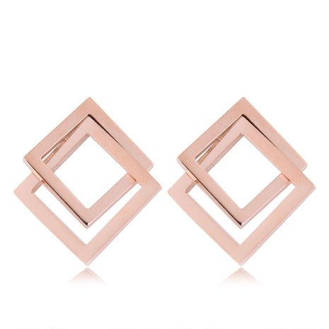 Fashion titanium steel rose gold three-dimensional square earrings yiwu nihaojewelry wholesale NHSC211311's discount tags