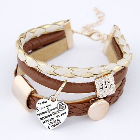 New fashion wild simple metal heart pendant leather multi-layer bracelet yiwu nihaojewelry wholesale NHSC211295's discount tags