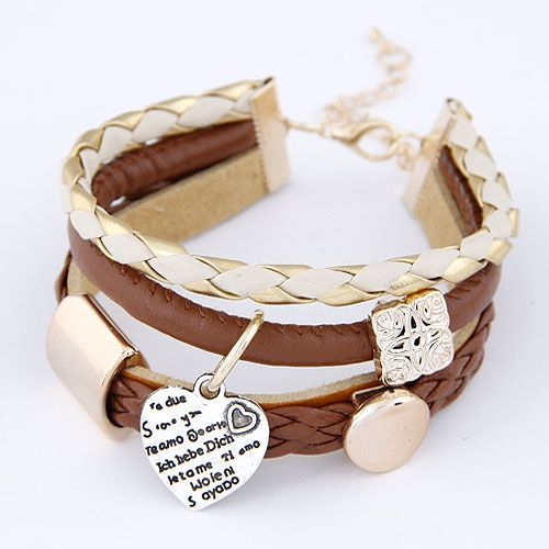 New fashion wild simple metal heart pendant leather multi-layer bracelet yiwu nihaojewelry wholesale NHSC211295
