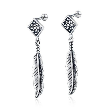 Korean new fashion retro simple stainless steel feather pendant earrings wholesale NHOP210764's discount tags