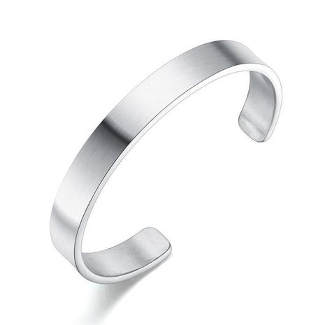 New fashion smooth open bracelet simple trend men's stainless steel bracelet wholesale NHOP210767's discount tags