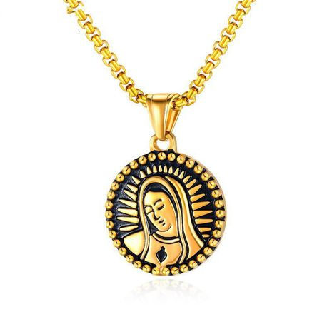 Hip hop small round pendant virgin mary head stainless steel necklace wholesale NHOP210773's discount tags