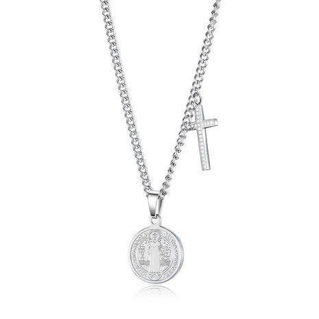 Nouvelle Mode Croyance Religieuse Notre Dame Croix Pendentif Collier En Acier Inoxydable En Gros NHOP210774's discount tags
