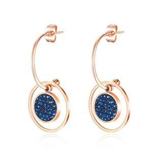 Nueva moda simple anillo de diamantes pendientes de acero de titanio chapado en oro rosa pendientes al por mayor NHOP210776's discount tags