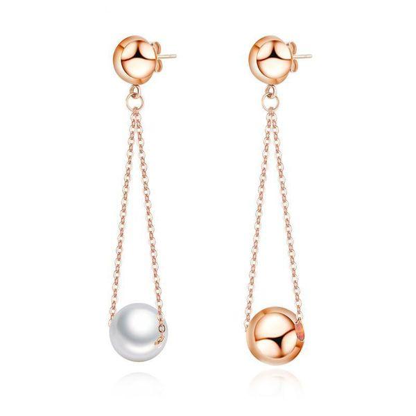 Korean new fashion wild pearl earrings sweet stainless steel simple tassel earrings wholesale NHOP210786