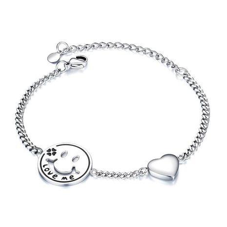 Nouvelle mode simple smiley face chaîne titane acier dames amour bracelet en gros NHOP210793's discount tags