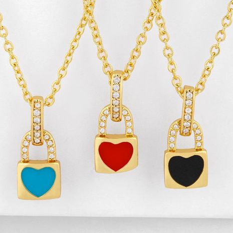 New fashion lock love pendant couple necklace wholesale NHAS210821's discount tags