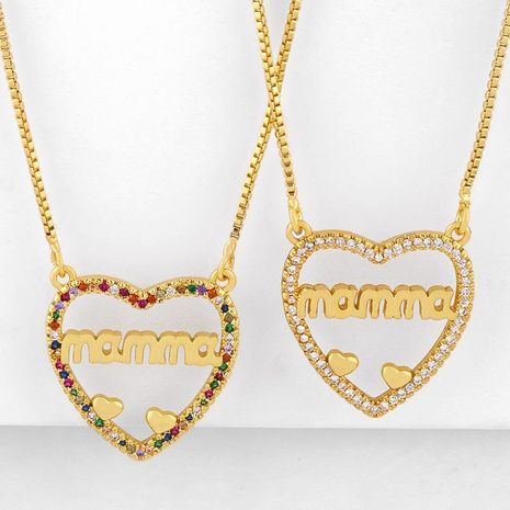 Mother's Day new fashion letters Mama diamond peach heart love pendant necklace wholesale NHAS210822's discount tags