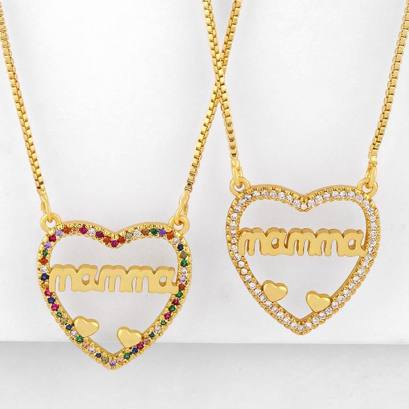 Mother's Day new fashion letters Mama diamond peach heart love pendant necklace wholesale NHAS210822
