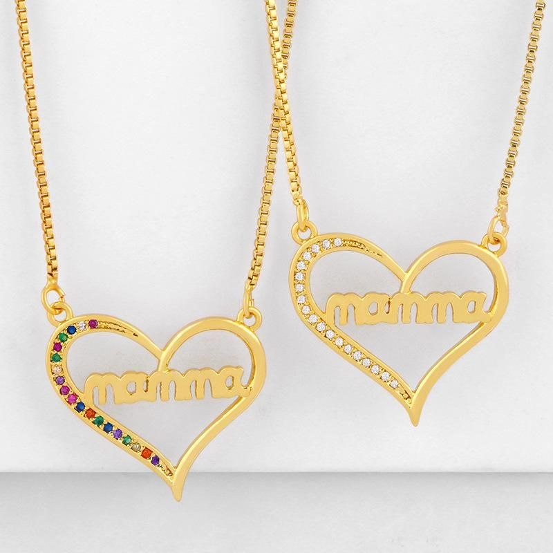 Mothers Day new fashion peach heart mama diamond pendant necklace wholesale NHAS210826
