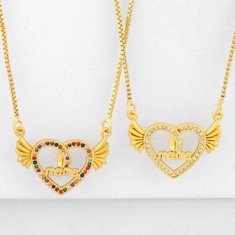 Nouveau Mode Diamant Mama Fête Des Mères Collier Coeur De Pêche Ailes Pendentif Collier En Gros NHAS210827's discount tags