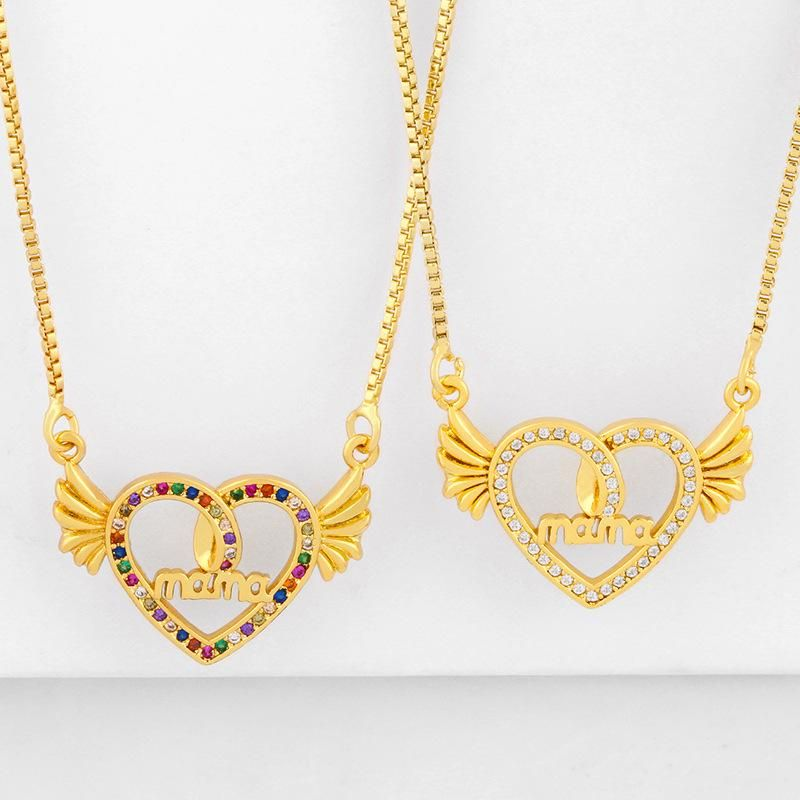 New Fashion Diamond Mama Mother's Day Necklace Peach Heart Wings Pendant Necklace Wholesale NHAS210827