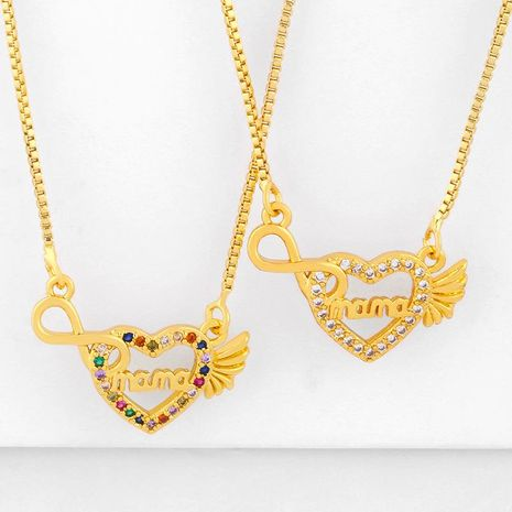 New fashion love letter mama diamond necklace mother's day gift wholesale NHAS210828's discount tags
