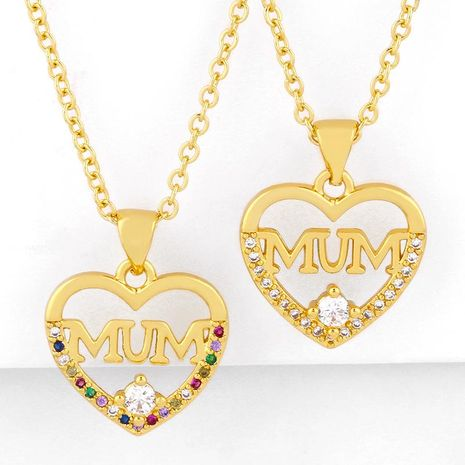 Mother's day new fashion mum love pendant heart-shaped diamond clavicle chain wholesale NHAS210829's discount tags