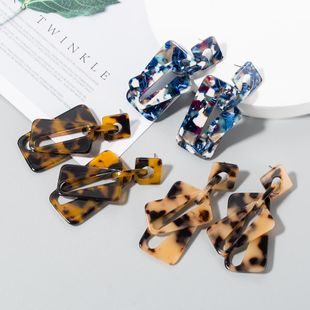 New fashion retro multi-layer acrylic hollow geometric leopard earrings wholesale NHLN210835's discount tags