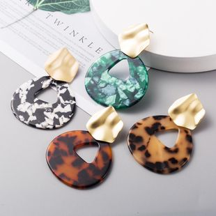 New fashion retro exaggerated acrylic bohemian leopard earrings wholesale NHLN210837's discount tags