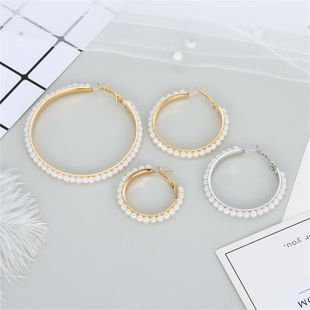 New fashion bohemian pearl ring vintage beaded earrings wholesale NHGO210841's discount tags