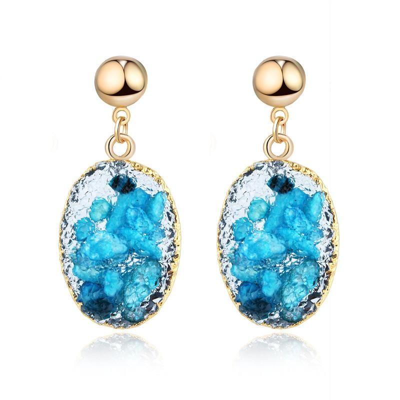 New fashion imitation natural stone shell earrings wholesale NHGO210842