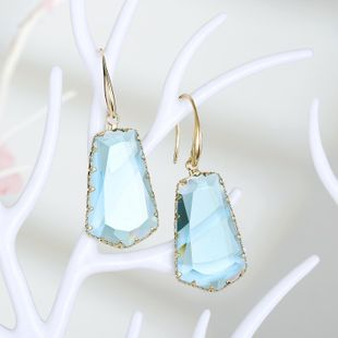 New fashion exaggerated trapezoidal crystal earrings irregular crystal earrings wholesale NHGO210849's discount tags