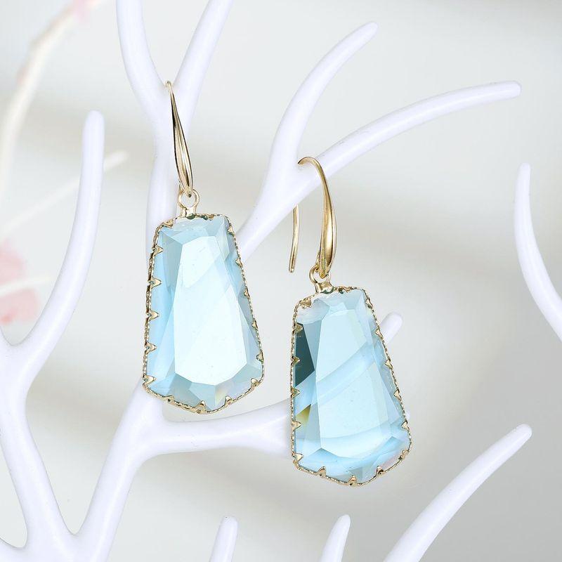 New fashion exaggerated trapezoidal crystal earrings irregular crystal earrings wholesale NHGO210849