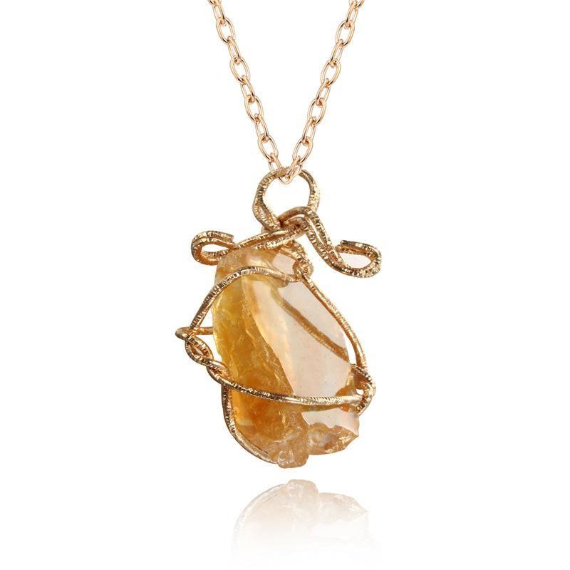New fashion winding irregular pendant necklace imitation natural stone resin sweater chain NHGO210850
