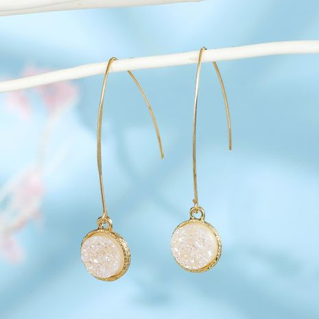 New fashion round natural stone drop earrings wholesale NHGO210855's discount tags