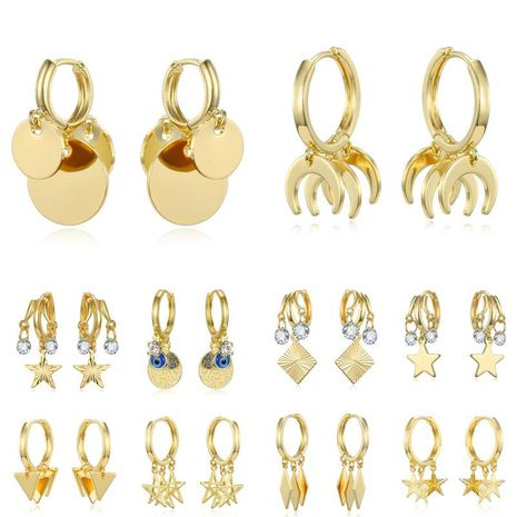 New fashion zircon earrings star sequins eye earrings wholesale NHGO210866's discount tags