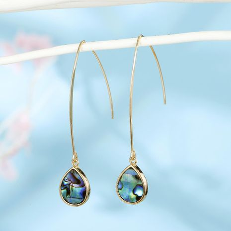 New fashion round imitation abalone shell drop earrings wholesale NHGO210868's discount tags